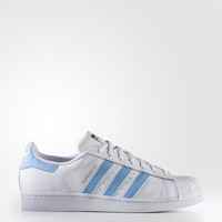 jacklish Adidas Men's White/Light Blue Superstar Shoes