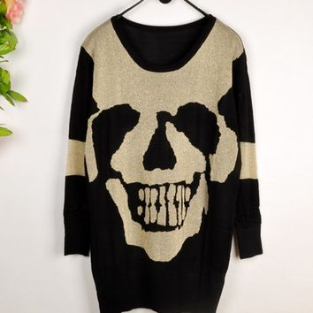 Skull Hollow Bat Sleeve Sweater Dark Black