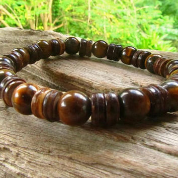 Tigers Eye & Coconut Beaded Bracelet / Mens Beaded Bracelet / Positive Energy Bracelet / Surfer Bracelet / Boho Bracelet / Mens Jewelry