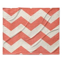 "Ann Barnes ""Vintage Coral"" Orange Chevron Fleece Throw Blanket"