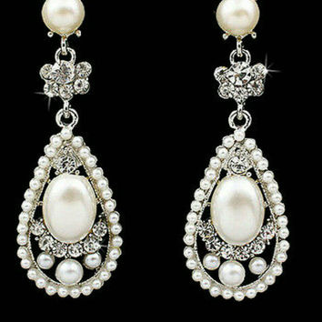 Pearl and rhinestone teardrop earrings for wedding in silver and Ivory