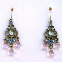 Chandelier Earrings with Light Pink Teardrop Beads and Blue Rhinestones