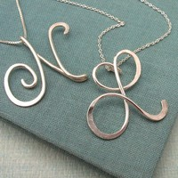 Calligraphy Initial Necklace in sterling silver