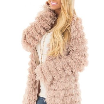 Taupe Faux Fur Jacket with Open Front