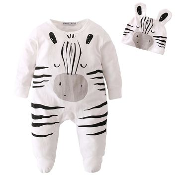 2018 New Style Newborn Toddler Baby Boy Girl Rompers Long sleeve Cartoon zebra pattern Jumpsuit+Hat Infant Clothes Outfits Set