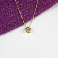 Crystal star gold necklace, star necklace, gold necklace, tiny star necklace, minimalist, lovely necklace, gift, crystal long necklace