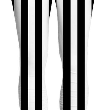 Beetlejuice yoga pants, black and white vertical stripes pattern, halloween style clothing