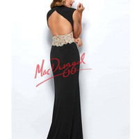 Mac Duggal 82228R Black Sexy V-Neck Cap Sleeve Gown 2015 Prom Dresses