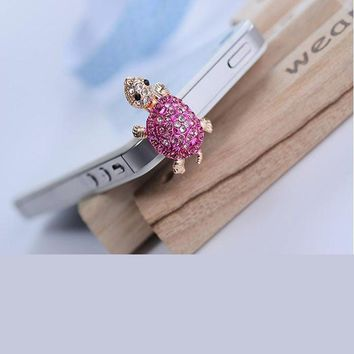 Fashion Bling Crystal Lovely Phone Dust Plug Turtle Earphone 3.5mm Jack Plug For iPhone Samsung Xiaomi Sony LG