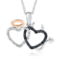 Diamond Angel & Devil Hearts Pendant in Sterling Silver & 10K Gold - Diamond - Pendants & Necklaces - Jewelry - Categories - Helzberg Diamonds