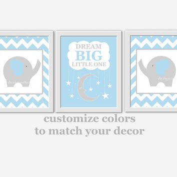 Baby Boy Nursery Wall Art Blue Gray Elephant Dream Room Decor