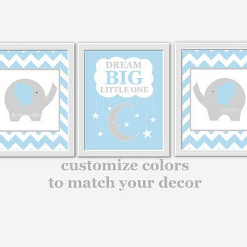Baby Boy Nursery Wall Art Blue Gray Elephant Dream Big Boy Room Wall Decor Nursery Elephant Wall Decor Baby Boy Nursery Decor Wall Art Print
