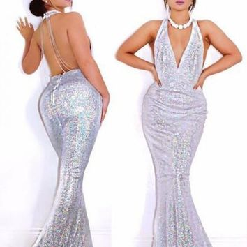 White Silver Sequin Draped Shoulder-Strap Backless Halter Neck Party Elegant Sleeveless Maxi Dress