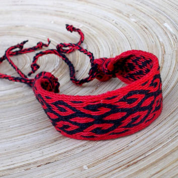 weaving colorful red black wrist band, weave woven friendship bracelet, men women boho ethnic jewelry, hipster tribal wrist cuffs, bangle