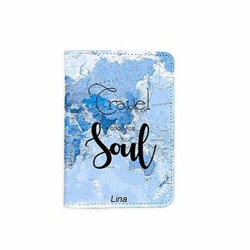 Travel Good For Soul World Map Customized Cute Leather Passport Holder - Passport Covers - Passport Wallet_SUPERTRAMPshop