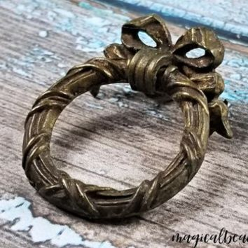 Ribbon & Bow Wreath Ring Pull Victorian Furniture Pull Keeler Brass Dresser Pull Brass Drawer Pull Dresser Hardware Vintage Drawer Pulls