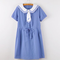 Japanese cute navy dress