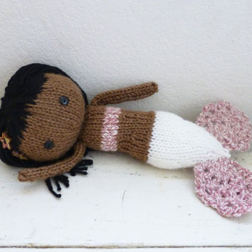 Mermaid stuffed doll, mermaid tail, doll for sale, black hair, gray mermaid fin, ready to ship, hand crochet doll, plush mermaid