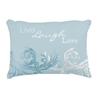 Chic Ice Blue Flourish Accent Pillow