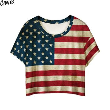 Women Multicolor Stars and Stripes Patchwork  Crop T-shirt American Flag Print Short Batwing Sleeve 2017 Summer O Neck Tee Top