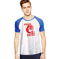 Pugs Not Drugs Red  For Short Raglan Sleeves T-shirt, Red Tees, Black Tees, Blue Tees*