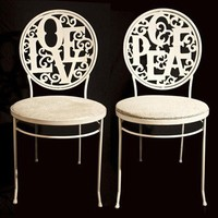 Pair of Love and Peace Iron Chairs