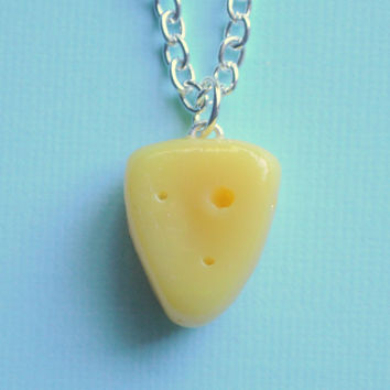 Swiss Cheese Polymer Clay Charm Necklace by PumpkinPyeBoutique