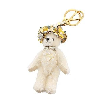 Prada Teddy Bear Keychain Enea White Jeweled Flower Headdress Bag Charm 1TO032