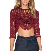 Toby Heart Ginger x Love Indie Balmain Crochet Top in Maroon