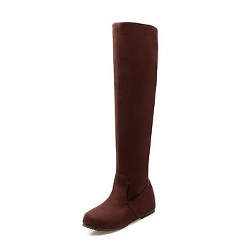 Round Toe Tall Boots Wedge Heel for Women 5587