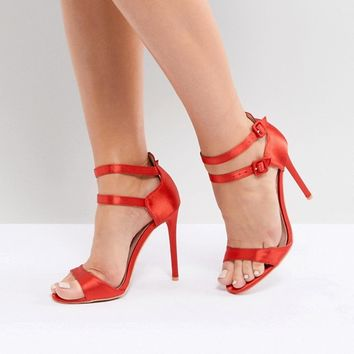 Lost Ink Wide Fit Red Satin Barely There Sandals at asos.com