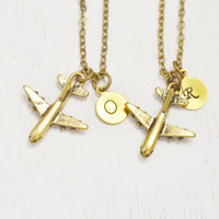 personalized best friend necklaces,aviation jewelry,pilot gift,airplane necklace,stewardess jewelry,aircraft travel,bridesmaid,bff jewelry