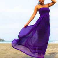 Purple silk chiffon Strapless Beach evening long maxi Sun dress fits S M L XL