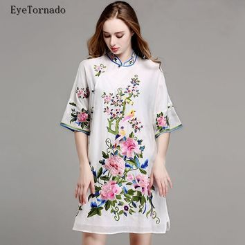 Women summer flower embroidery vintage ethnic casual loose work beach cotton silk cheongsam dress M-3XL chinese style 9767