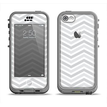 The Subtle Wide White & Gray Chevron Apple iPhone 5c LifeProof Nuud Case Skin Set