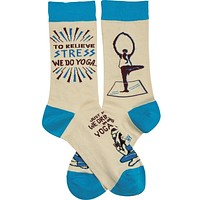 We Drink Wine In Our Yoga Pants Socks in Cream and Blue