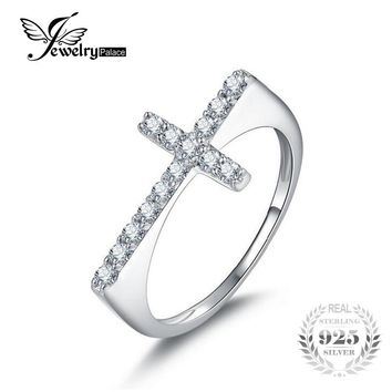 JewelryPalace Cross Sideways Romantic 0.4ct Anniversary Ring Genuine 925 Sterling Silver Fine Jewelry For Women