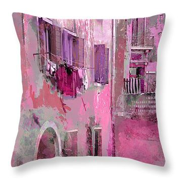 """Venice Washday In Pink Throw Pillow for Sale by Suzanne Powers - 14"""" x 14"""""""