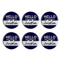 Justin Hello My Name Is Plastic Resin Button Set of 6