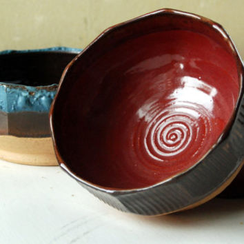 Bowl, Brown, Red, Faceted, Wheel Thrown, Stoneware, FREE SHIPPING, dish, candy dish, ceral bowl, soup bowl, dessert dish