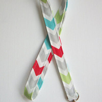 Lanyard  ID Badge Holder - Harmony  - teal - red - gray -  Chevron zigzag Zig zag  - Lobster clasp and key ring