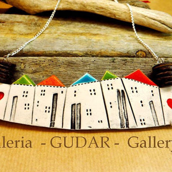 Ceramic houses statement necklace, contemporary jewelry for women Unique handmade nacklace Heart village, Gift for her, Adorable gift