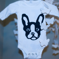 Long Sleeve Onesuit Organic Cotton with Boston Terrier by PoshBinky