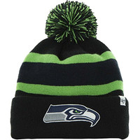 47 Brand NFL Seattle SeaHawks Breakaway Black Neon Green Knit Cuffed Beanie Cap