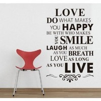 DIY Happy Live Laugh Love Smile Inspirational Quote Wall Paper Art Vinyl Decal Sticker:Amazon:Home & Kitchen