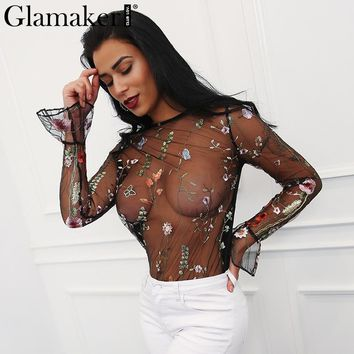 Glamaker Elegant embroidery blouse shirt women tops Sexy transparent club mesh women shirts Long flare sleeve top tees blouse