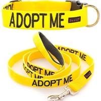 Adopt Me Yellow Color Coded Waterproof Padded Adjustable Non Pull Front and Back Ring Medium Vest Dog Harness and 6 Foot Leash Set Donate To Your Local Charity