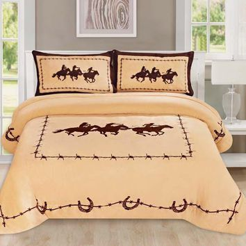 Western Beige Barbed Wire Cowboy Running Horse Star Blanket Borrego Fleece - 3 Piece Set
