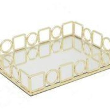 "Benzara 11.5"" Golden Metal Tray With Mirror"
