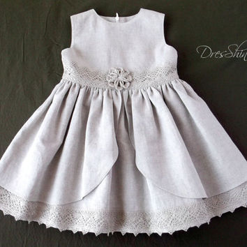 Gray linen lace flower girl dress first birthday outfit sleeveless summer dresses baby girl shower gift grey party gown